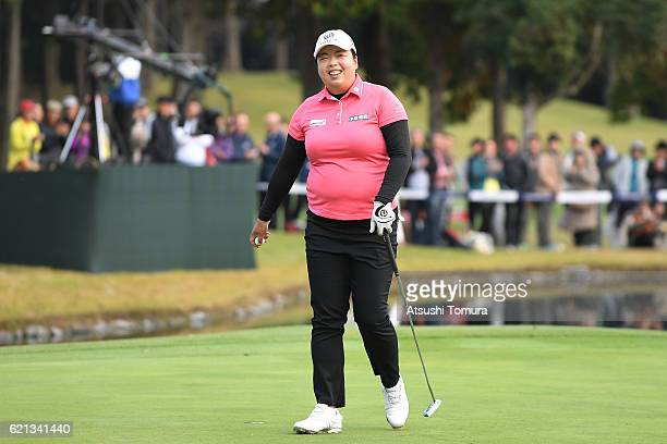 Shanshan Feng of China celebrates after winning the TOTO Japan Classics 2016 at the Taiheiyo Club Minori Course on November 6 2016 in Omitama Japan