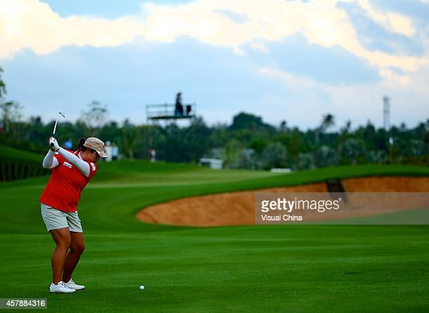 Shanshan Feng of China hits a shot during day four of the 2014 Blue Bay LPGA at Jian Lake Blue Bay Golf Course on October 26 2014 in Hainan Island...