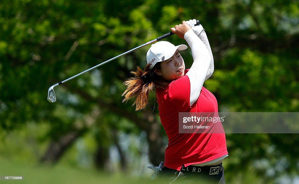 Shanshan Feng of China hits a tee shot during the final round of the 2013 North Texas LPGA Shootout at the Las Colinas Counrty Club on April 28, 2013 in Irving, Texas.