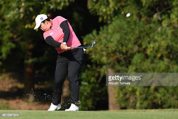 Shanshan Feng of China hits her second shot on the 14th hole during the final round of the TOTO Japan Classics 2016 at the Taiheiyo Club Minori...