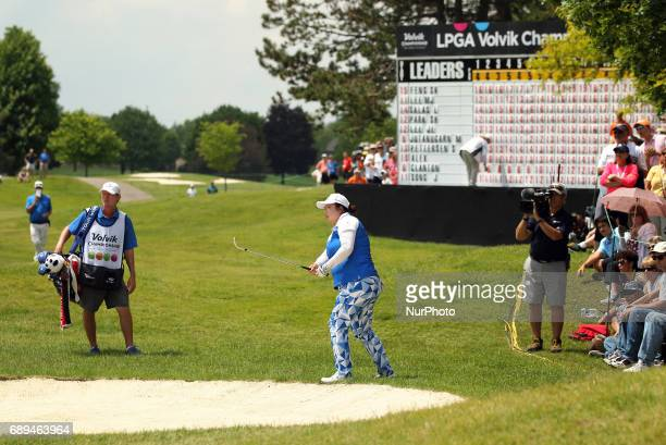 Shanshan Feng of China hits her shot toward the 18th green during the final round of the LPGA Volvik Championship at Travis Pointe Country Club Ann...