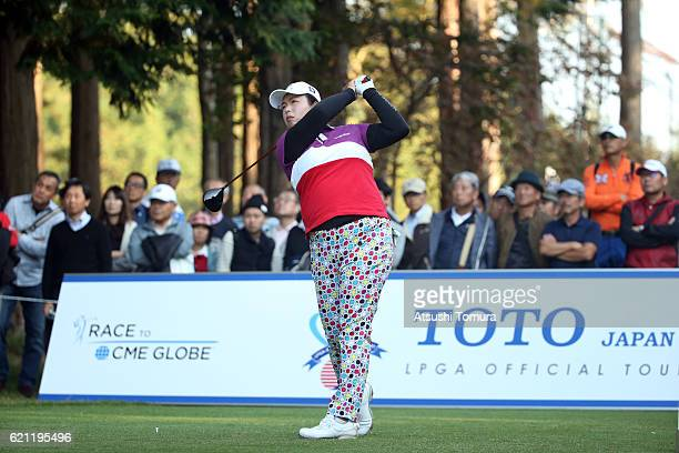 Shanshan Feng of China hits her tee shot on the 18th hole during the second round of the TOTO Japan Classics 2016 at the Taiheiyo Club Minori Course...