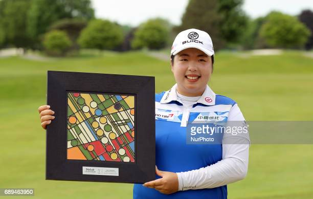 Shanshan Feng of China holds up the trophy after winning the the Volvik Championship during the final round of the Volvik Championship held at Travis...