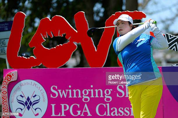 Shanshan Feng of China makes a tee shot on the fourth hole during round three of the Swinging Skirts LPGA Classic presented by CTBC at the Lake...