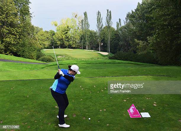 Shanshan Feng of China plays a shot during the second round of the Evian Championship Golf on September 11 2015 in EvianlesBains France