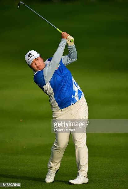 Shanshan Feng of China plays a shot during the second round of The Evian Championship 2017 at Evian Resort Golf Club on September 16 2017 in...