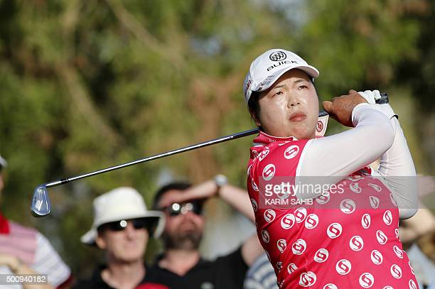 Shanshan Feng of China plays a shot during the third round of the Dubai Ladies Masters in Dubai on December 11 2015 AFP PHOTO / KARIM SAHIB / AFP /...