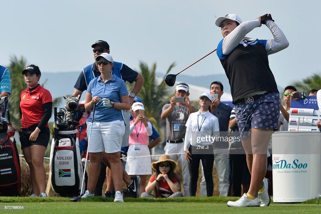 Shanshan Feng of China plays a shot on the 16th hole during the final round of the Blue Bay LPGA at Jian Lake Blue Bay golf course on November 11, 2017 in Hainan Island, China.