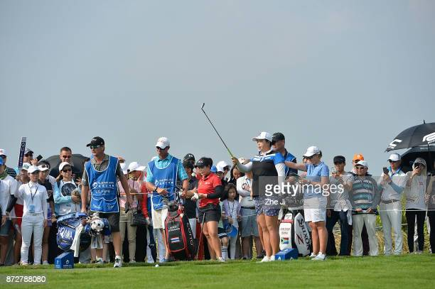 Shanshan Feng of China plays a shot on the 17th hole during the final round of the Blue Bay LPGA at Jian Lake Blue Bay golf course on November 11...