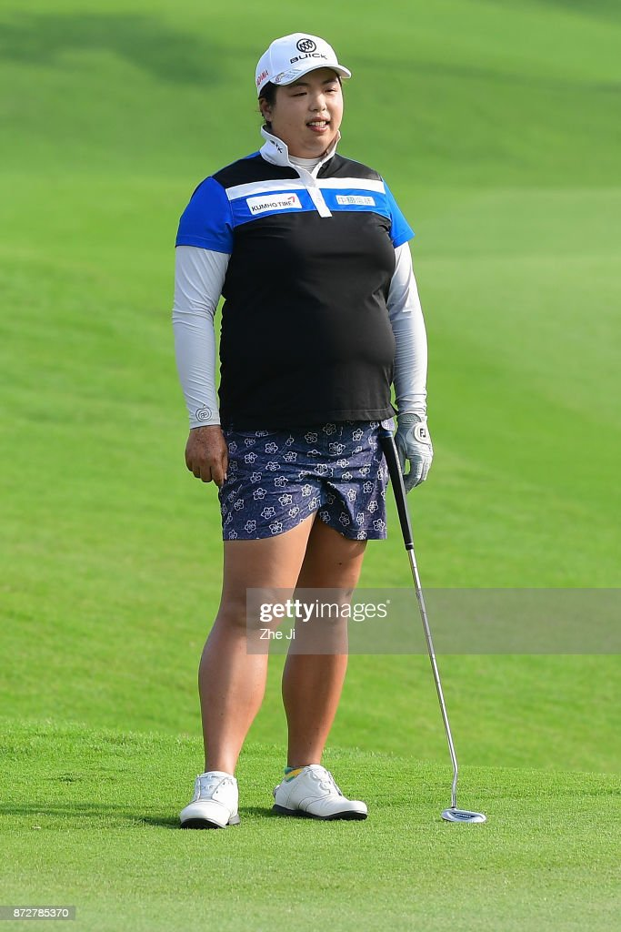 Shanshan Feng of China plays a shot on the 18th hole during the final round of the Blue Bay LPGA at Jian Lake Blue Bay golf course on November 11, 2017 in Hainan Island, China.
