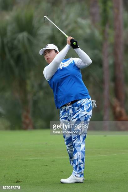 Shanshan Feng of China plays a shot on the second hole during round one of the CME Group Tour Championship at the Tiburon Golf Club on November 16...
