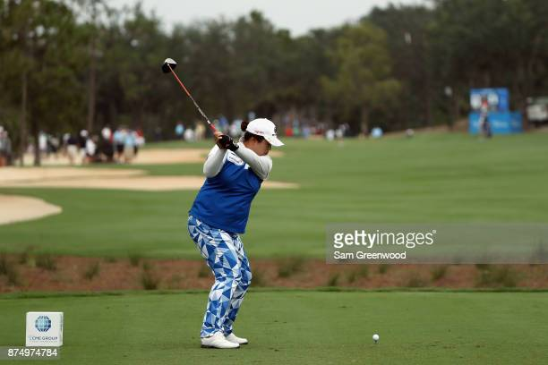Shanshan Feng of China plays her shot from the third tee during round one of the CME Group Tour Championship at the Tiburon Golf Club on November 16...