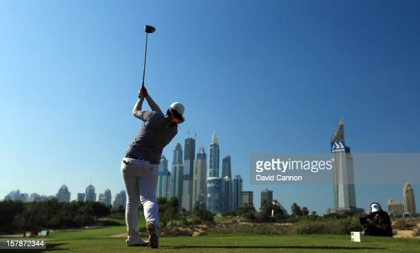 Shanshan Feng of China plays her tee shot at the par 4 8th hole during the third round of the 2012 Omega Dubai Ladies Masters on the Majilis Course...