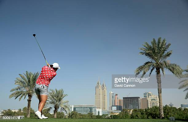 Shanshan Feng of China plays her tee shot on the par 4 second hole during the third round of the 2015 Omega Dubai Ladies Masters on the Majlis Course...