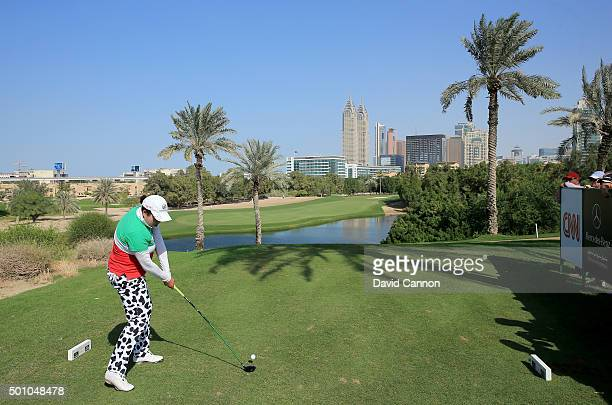 Shanshan Feng of China plays her tee shot on the par 4 second hole during the final round of the 2015 Omega Dubai Ladies Masters on the Majlis Course...