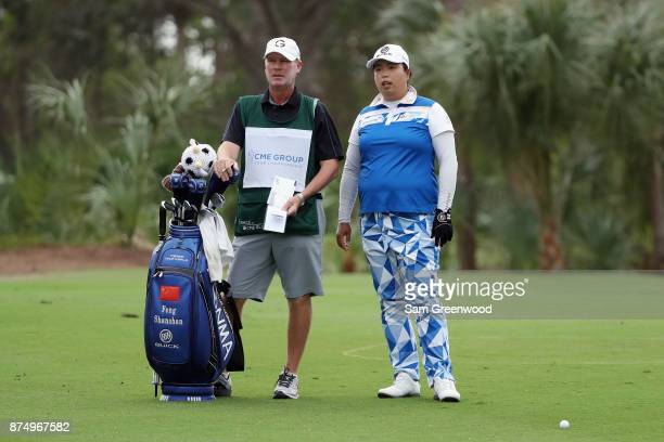 Shanshan Feng of China prepares to play a shot on the second hole during round one of the CME Group Tour Championship at the Tiburon Golf Club on...