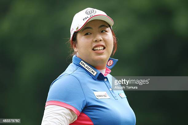 Shanshan Feng of China smiles during the second round of the meiji Cup 2015 at the Sapporo Kokusai Country Club on August 8 2015 in Kitahiroshima...