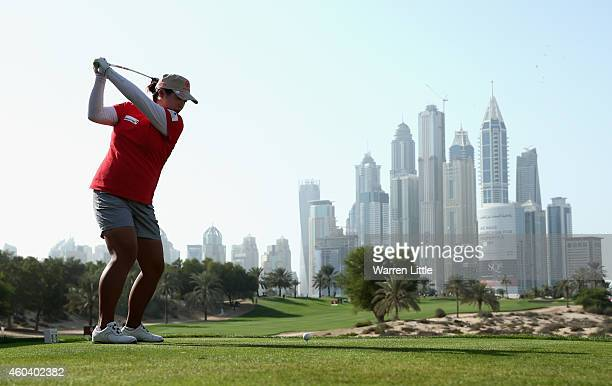 Shanshan Feng of China tees off on the eighth hole during the final round of the Omega Dubai Ladies Masters on the Majlis Course at Emirates Golf...