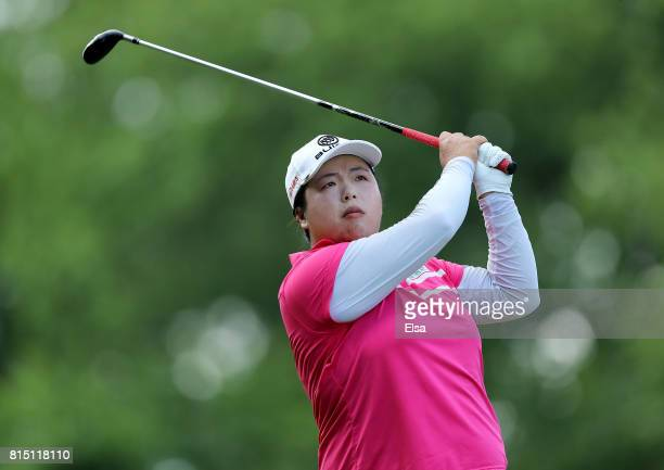 Shanshan Feng of China watches her shot off the fourth tee during the US Women's Open round three on July 15 2017 at Trump National Golf Club in...