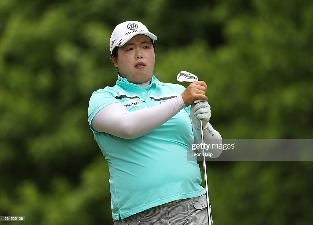 <a gi-track='captionPersonalityLinkClicked' href=/galleries/search?phrase=Shanshan+Feng&family=editorial&specificpeople=4682908 ng-click='$event.stopPropagation()'>Shanshan Feng</a> tees off on the seventh hold during the first round of the LPGA Volvik Championship on May 26, 2016 at Travis Pointe Country Club Ann Arbor, Michigan.