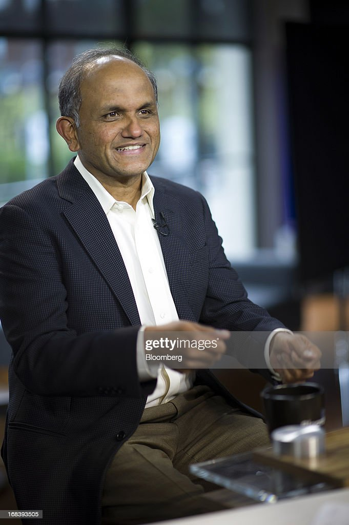 Shantanu Narayen, president and chief executive officer of Adobe Systems Inc., speaks during a Bloomberg West television interview in San Francisco, California, U.S., on Wednesday, May 8, 2013. Narayen says Adobe Systems Inc. will focus Creative software development efforts on Creative Cloud and has no plans for future releases of Creative Suite or other CS products. Photographer: David Paul Morris/Bloomberg via Getty Images