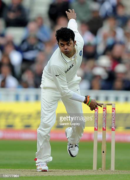 Shanthakumaran Sreesanth of India bowls during day one of the 3rd npower Test at Edgbaston on August 10 2011 in Birmingham England