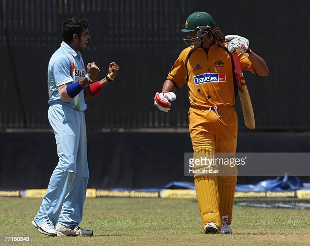 Shanthakumaran Sreesanth of India gives Andrew Symonds of Australia a send off after dismissing him during the second one day international match...