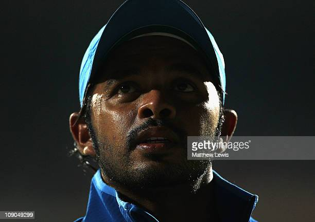 Shanthakumaran Sreesanth of India looks on during the 2011 ICC World Cup Warm up game between India and Australia at the M Chinnaswamy Stadium on...