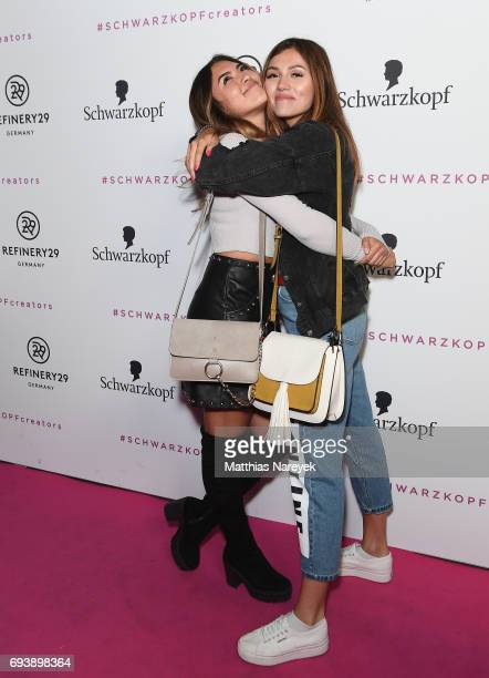 Shanti Joan Tan and Anna Maria Damm attend the Schwarzkopf x Refinery29 event at Bar Babette on June 8 2017 in Berlin Germany