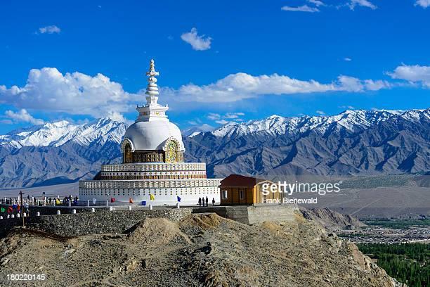 LADAKH LEH JAMMU KASHMIR INDIA Shanti Stupa is a Buddhist whitedomed stupa on a hilltop in Chanspa and provides panoramic views of the surrounding...