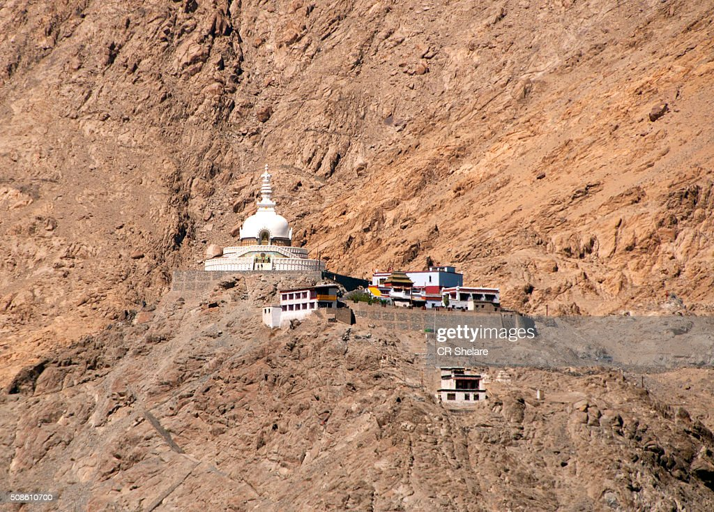 Shanti stupa, Leh, Ladakh : Stock Photo