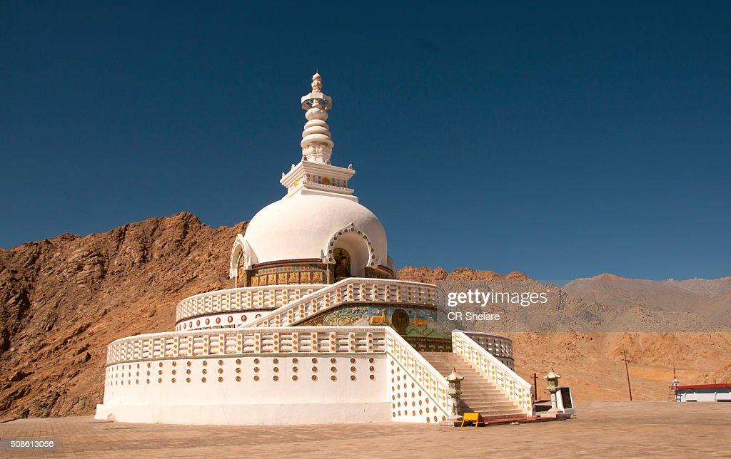 Shanti stupa, Leh, Ladakh : Stock Photo