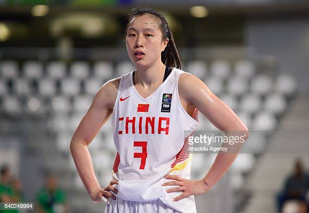 Shao Ting of China in action during the FIBA Women's Olympic Qualifying Tournament 2016 between China and Spain at La Trocardire in NantesFrance on...