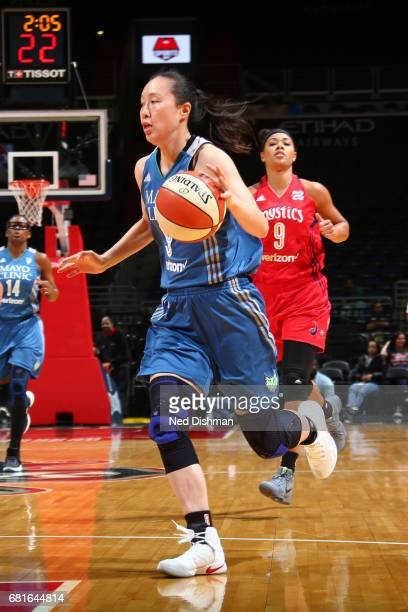 Shao Ting of the Minnesota Lynx handles the ball against the Washington Mystics on May 8 2017 at Verizon Center in Washington DC NOTE TO USER User...