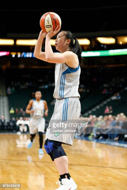 Shao Ting of the Minnesota Lynx shoots the ball during the game against the Atlanta Dream during the preseason WNBA game on May 5 2017 at Xcel Energy...
