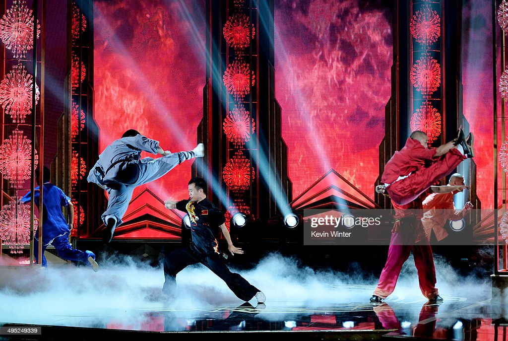 Shaolin Warriors perform at the 2014 Huading Film Awards at The Montalban Theatre on June 1, 2014 in Los Angeles, California.