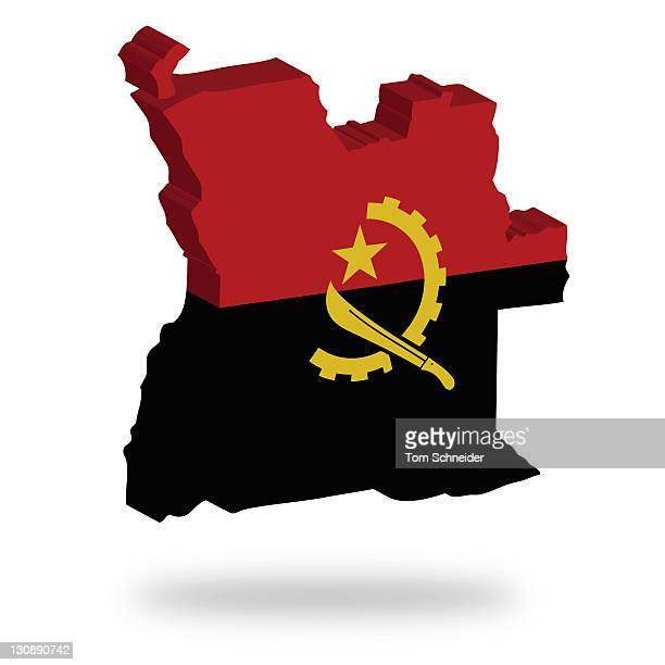 Shape and national flag of Angola, levitating, 3D computer graphics
