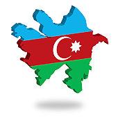 Shape and national flag of Azerbaijan, levitating, 3D computer graphics