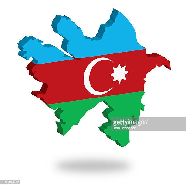Shape and national flag of Azerbaijan, levitating, 3D computer graphics