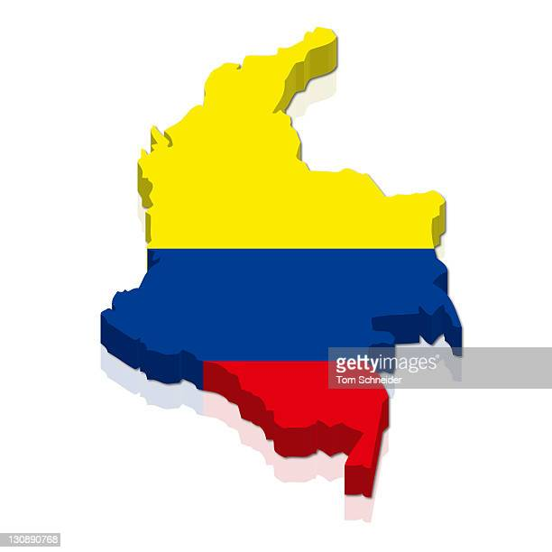 Shape and national flag of Colombia, 3D computer graphics