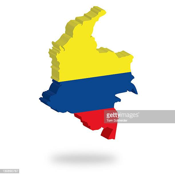 Shape and national flag of Colombia, levitating, 3D computer graphics