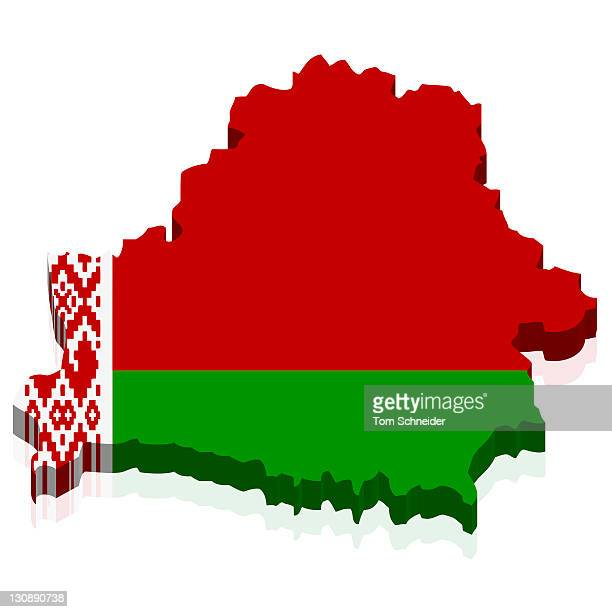 Shape and national flag of the Republic of Belarus, 3D computer graphics