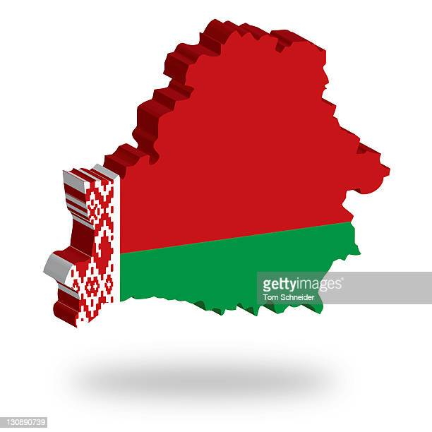 Shape and national flag of the Republic of Belarus, levitating, 3D computer graphics