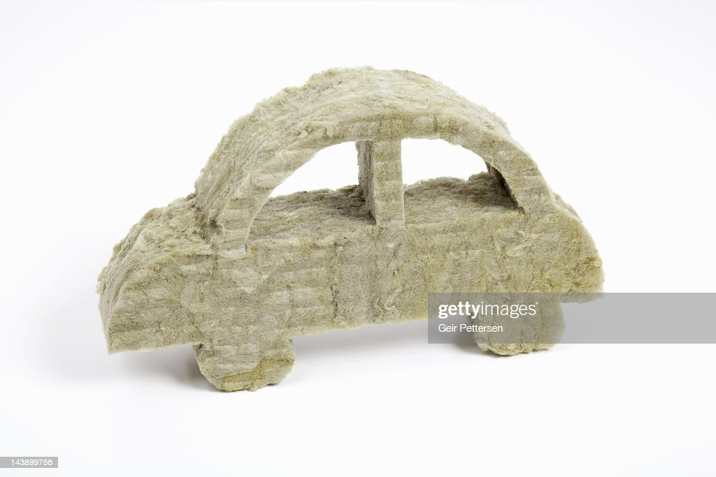 Shape of car made from insulation material : Stock Photo