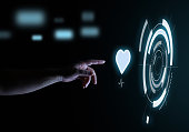 Shape of Heart and Heart Rate Digital Touch Hologram User Interface Technology Concept in the Dark