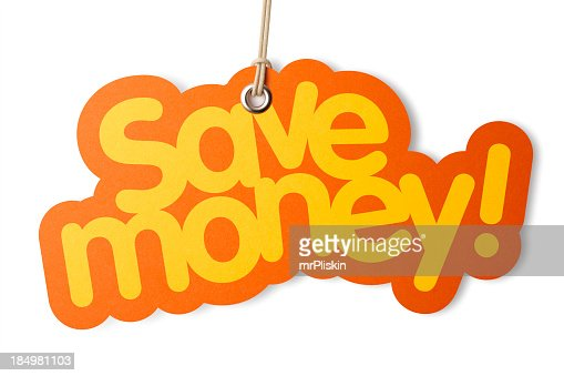 SAVE MONEY shaped label on price tag