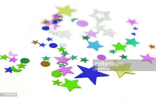 Shaped multicolor confetti with stars for party decorations.