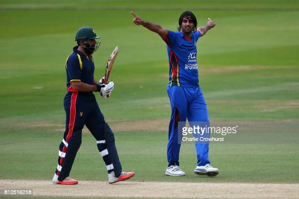 Shapoor Zadran of Afghanistan celebrates after taking the wicket of MisbahulHaq of MCC during the MCC v Afghanistan cricket match at Lord's Cricket...