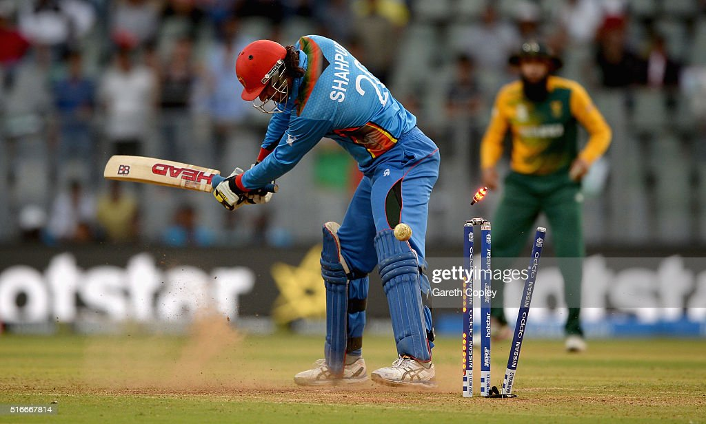 Shapoor Zadran of Afghanistan is bowled by Kagiso Rabada of South Africa during the ICC World Twenty20 India 2016 Super 10s Group 1 match between South Africa and Afghanistan at Wankhede Stadium on March 20, 2016 in Mumbai, India.