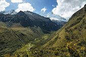 Shapraraju peak (6112m) from Portachuelo pass, Ancash province, Peru